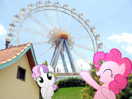 Pinkie Pie takes Sweetie Bell to the Ferris Wheel. by HAchaosagent