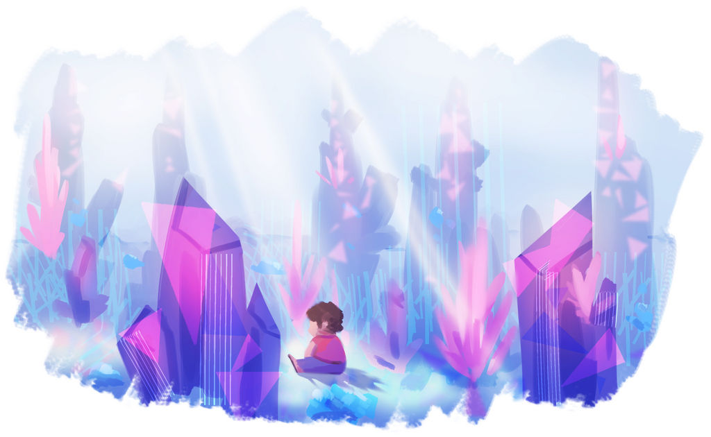 Quick paint of Steven in a crystal-y environment that I did a while back and forgot to post in a lot of places!