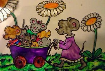 Mouses family on a walk by mockingbirdontree