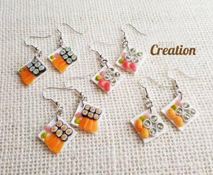 Miniature sushi earrings by PetiteCreation