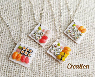 Miniature sushi necklace by PetiteCreation