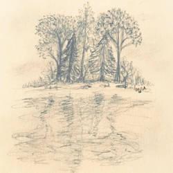 Some trees on a lake by ArabellaTheKing