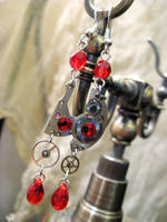 Steampunk Red Earrings by Verope