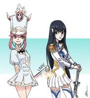 Nonon and Satsuki-sama by rafafloresart