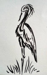 Ink Art Experiment: Grey Heron by MysteriousShine