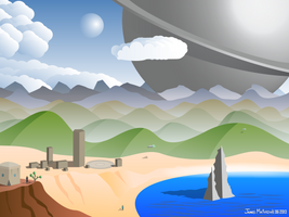 Big Sphere Over the Mountains (Vector version) by Spacepretzel