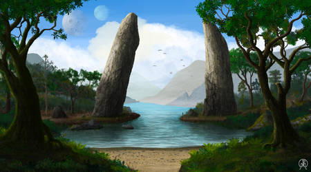 Two Stone Pillars by Spacepretzel