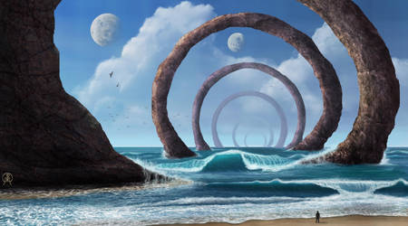 Shore of Stone Rings by Spacepretzel