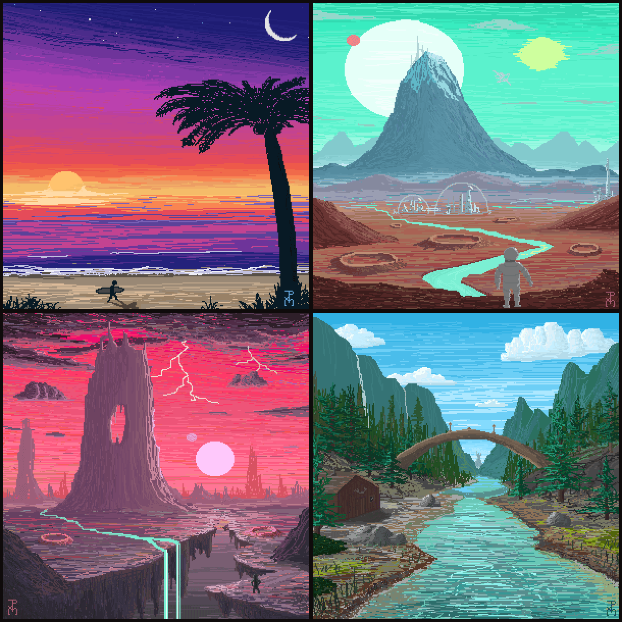 Pixel Paintings August 1-4 by Spacepretzel