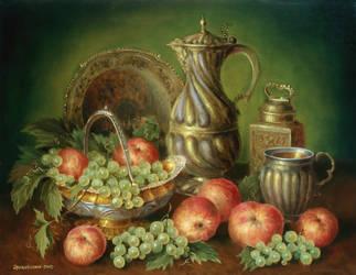 Still Life with red apples by Zrazhevsky-Arkady