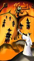 Samurai Jack and Aku by superstarmario17