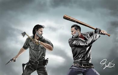 Rick vs Negan by superstarmario17