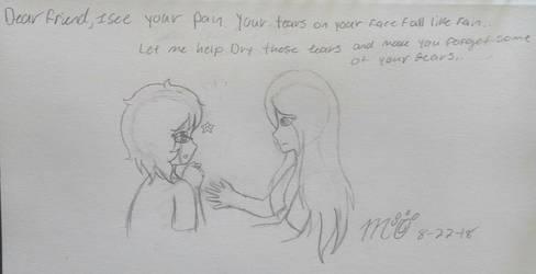 Dear friend your tears fall like rain... by GoldheartArt