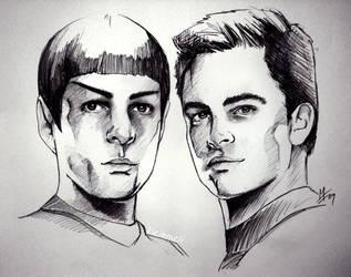 Star Trek - Spock and Kirk by kleinmeli