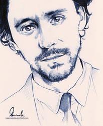 Ballpoint Pen - Tom Hiddleston by kleinmeli