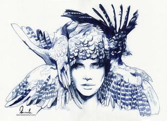 Ballpoint Pen Icarus - WIP3 by kleinmeli