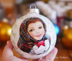 Painted Christmas tree ball - Russian girl by lovebiser
