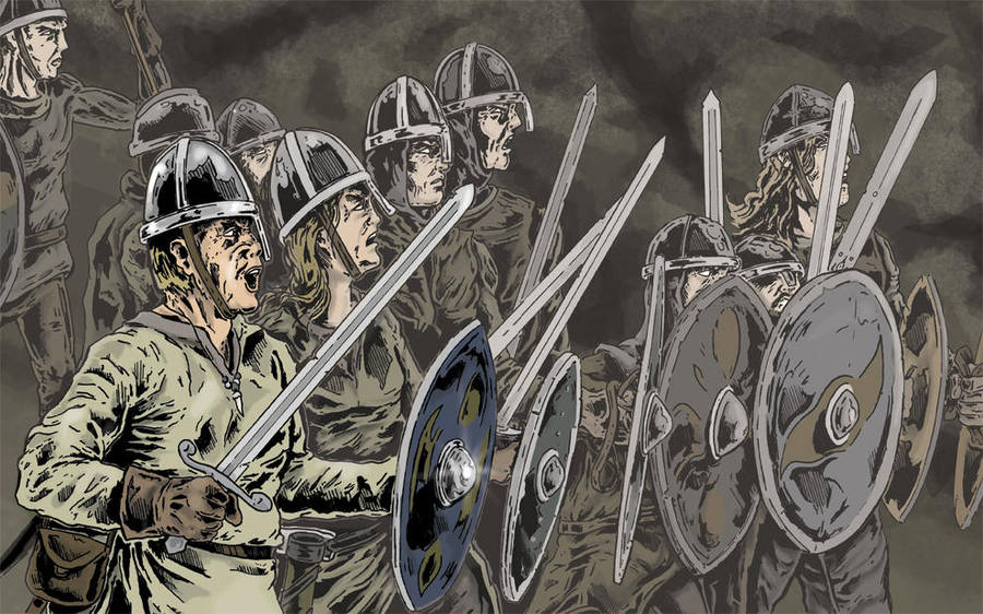 Viking Shield Wall By Tomographiser