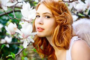 Angel meets flower by WildRainOfIceAndFire