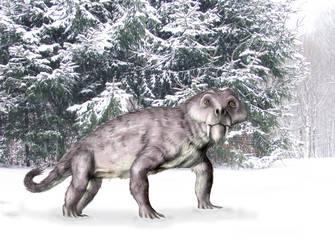 Furry gorgonopsian in winter by mojcaj