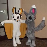 Minccino and Emolga Mascots by Monoyasha
