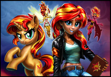 Sunset Shimmer Four Ways -- Revised by harwicks-art