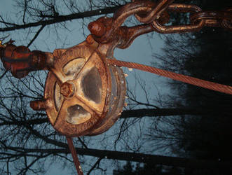 rusted pulley by lo-fi-stock