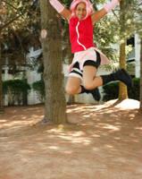 Jumping Ninja Sakura by Angelstarr-Sakura