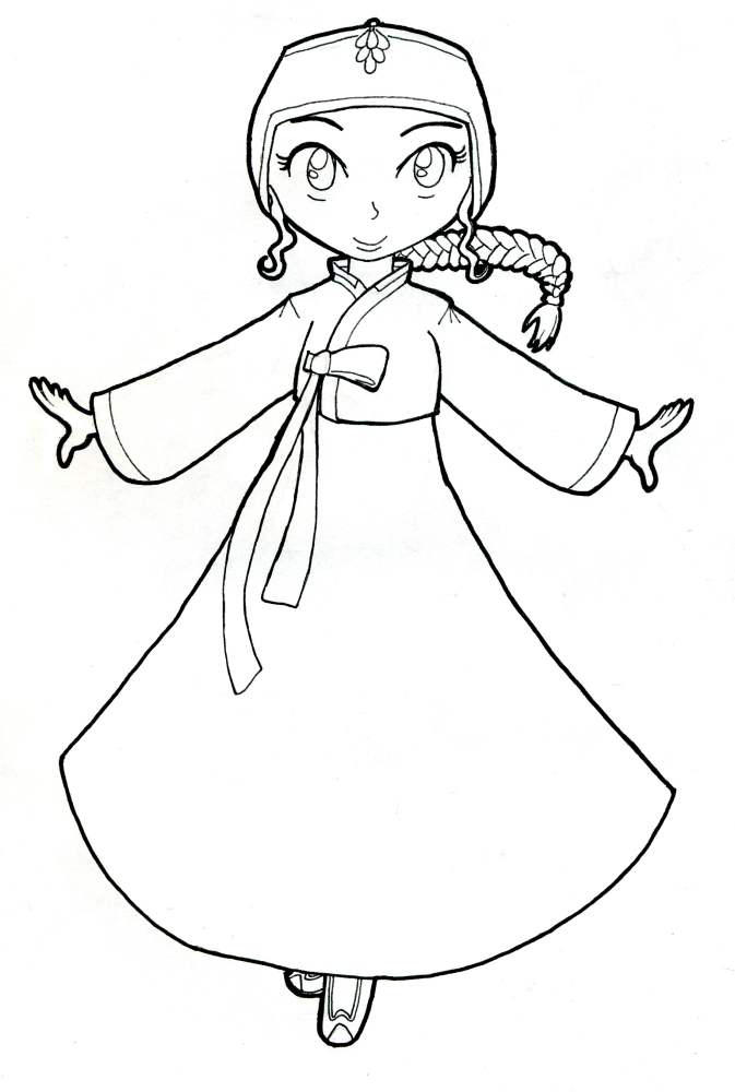 Korean Hanbok Coloring Page By Akaitennyo On Deviantart - Korean-hanbok-coloring-pages
