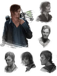 The walking dead - Daryl Dixon sketches by maXKennedy