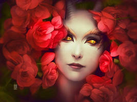 Lying On Red Roses by Valentina-Remenar