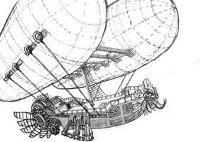 Aztec steampunk zeppelin by Meewtoo