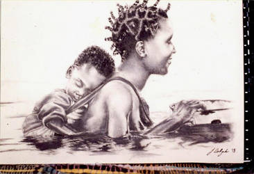 Tribal drawing - mother and child by portraitsbyhand