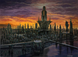 Sci-fi cityscape by Heliofob