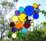 Butterfly Rainbow Bubbles Stained Glass Suncatcher by JBsGlassHouse