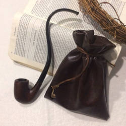 Strider Leather Pipe-weed Pouch (Dark Brown) by Faunwand