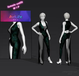 3D Outfit WIP - One leg peacock suit - Avilife by CherrysDesigns