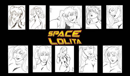 Space Lolita Sketchcards by TeamAmazing