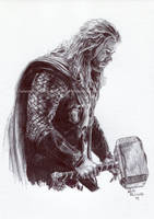 Thor / Chris Hemsworth / Avengers - Ink Portrait by NateMichaels