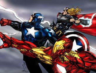 Thor Iron man  Captain America by KRTArt