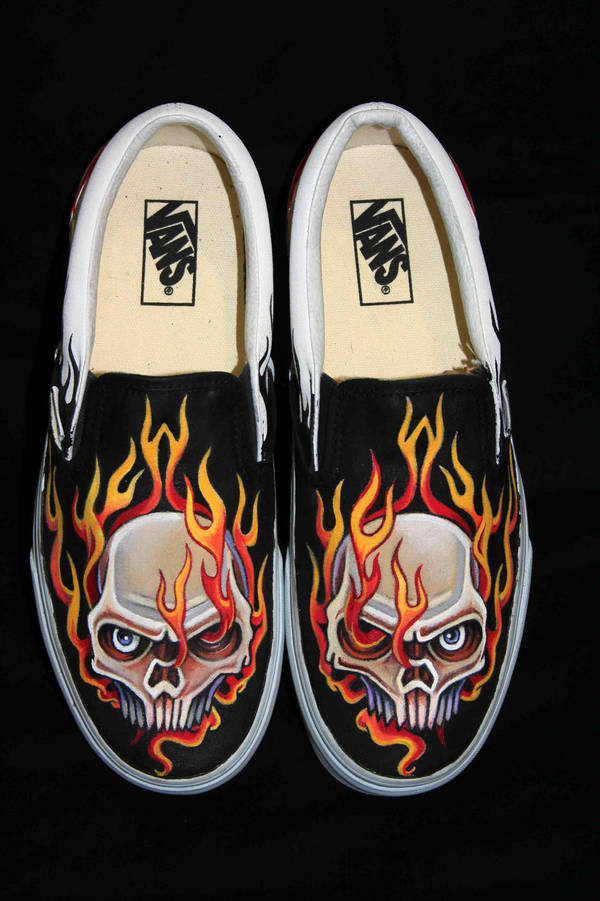 459d7364d729 Custom vans skull in flames victor on deviantart jpg 600x901 Custom skull  vans