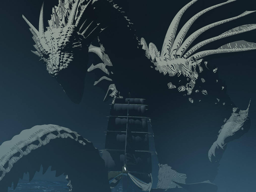 DeepSea Dragon vs. Galleon by AkaiGaru