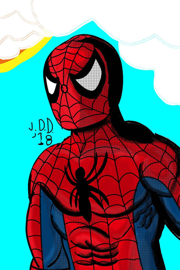 Spidey Portrait for honoring Stan Lee by jddishmonart