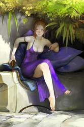 elf in purple dress by Enaxor