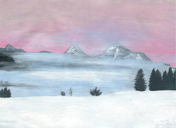 Misty sunset in the mountains (acrylic) by JenThams