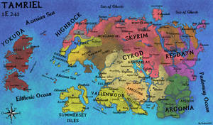Geopolitical Map of Tamriel in 1E241 by fredoric1001