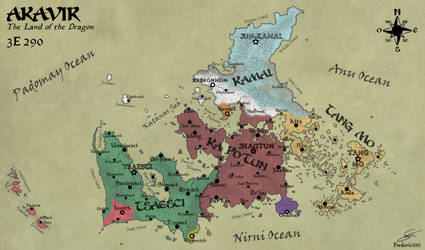 Geopolitical map of Akavir in 3E290 by fredoric1001