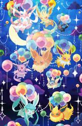 Balloon Eevees by DrunkPugs