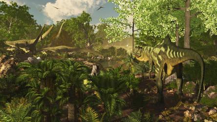 Yangchuanosaurus: Upper Shangshaximiao Formation by PrehistoricArt