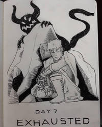 Inktober 2018 Day 7: Exhausted by AdamFegarido